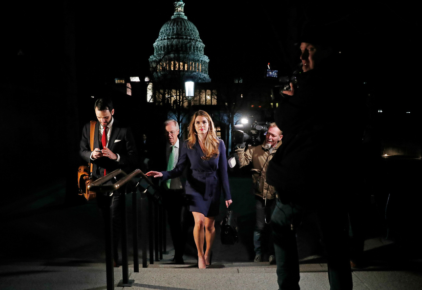 White House Communications Director Hope Hicks leaves the U.S. Capitol after attending the House Intelligence Committee closed door meeting in Washington, U.S., February 27, 2018. REUTERS/Leah Millis