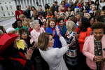 U.S. House Speaker Nancy Pelosi (D-CA) celebrates with most of the House Democratic women after a group photograph was taken of them all on the second day of the new (116th) Congress on Capitol Hill in Washington, U.S., January 4, 2019.