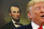 A portrait of late U.S. President Abraham Lincoln hangs in the background as U.S. President Donald Trump speaks during a ceremonial swearing-in for Labor Secretary Eugene Scalia at the White House in Washington, U.S., September 30, 2019.