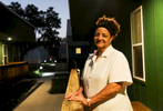 Bastion resident Sylvia Magee 61 in front of her home at the Bastion resident community in New Orleans.