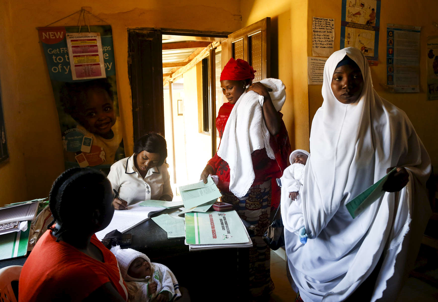 Patients arrive vaccination day, in the medical facility of Kuchigoro in Abuja, Nigeria.