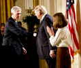 U.S. President Donald Trump shakes hands with nominate Judge Neil Gorsuch to the Supreme Court, in the East Room of the White House.