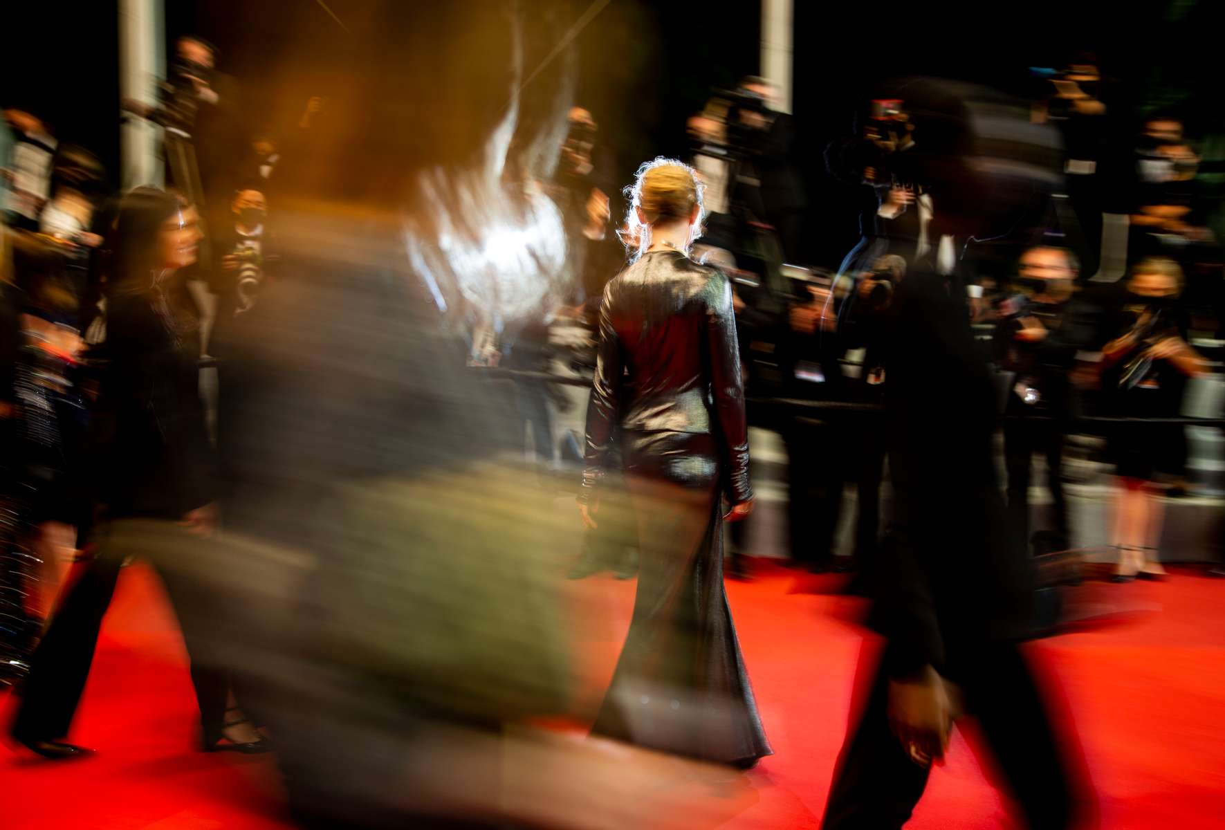 """Actress Deborah Francois arrives for the screening of the film  """"Les Olympiades"""" (Paris 13th District) in competition at the 74th annual Cannes Film Festival in Cannes, France on July 14, 2021."""