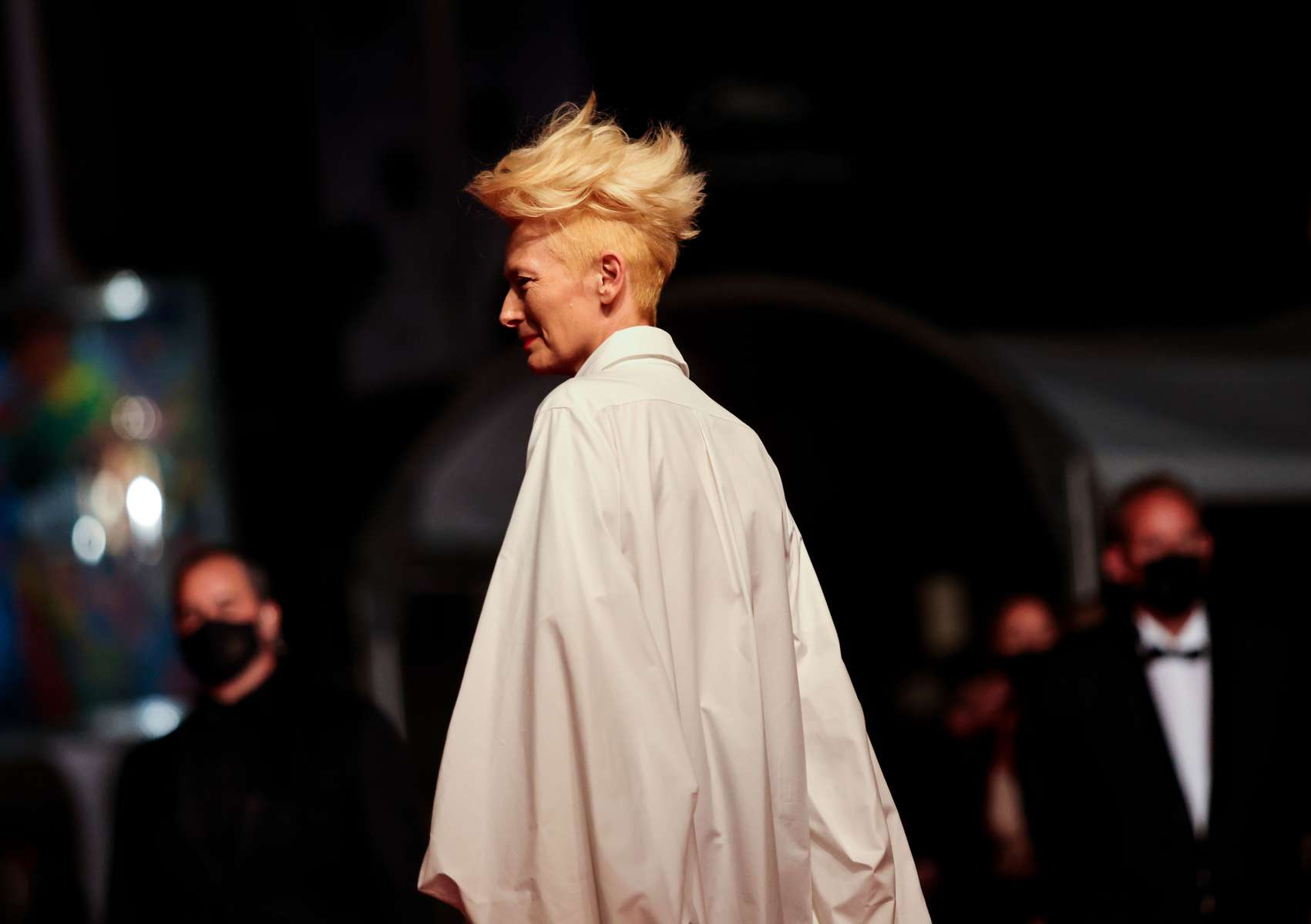 """British actress Tilda Swinton arrives for the screening of the film  """"Les Olympiades"""" (Paris 13th District) in competition at the 74th annual Cannes Film Festival in Cannes, France on July 14, 2021. For the first time in its history, the Festival falls on Bastille day, because of delays due to the Covid-19."""