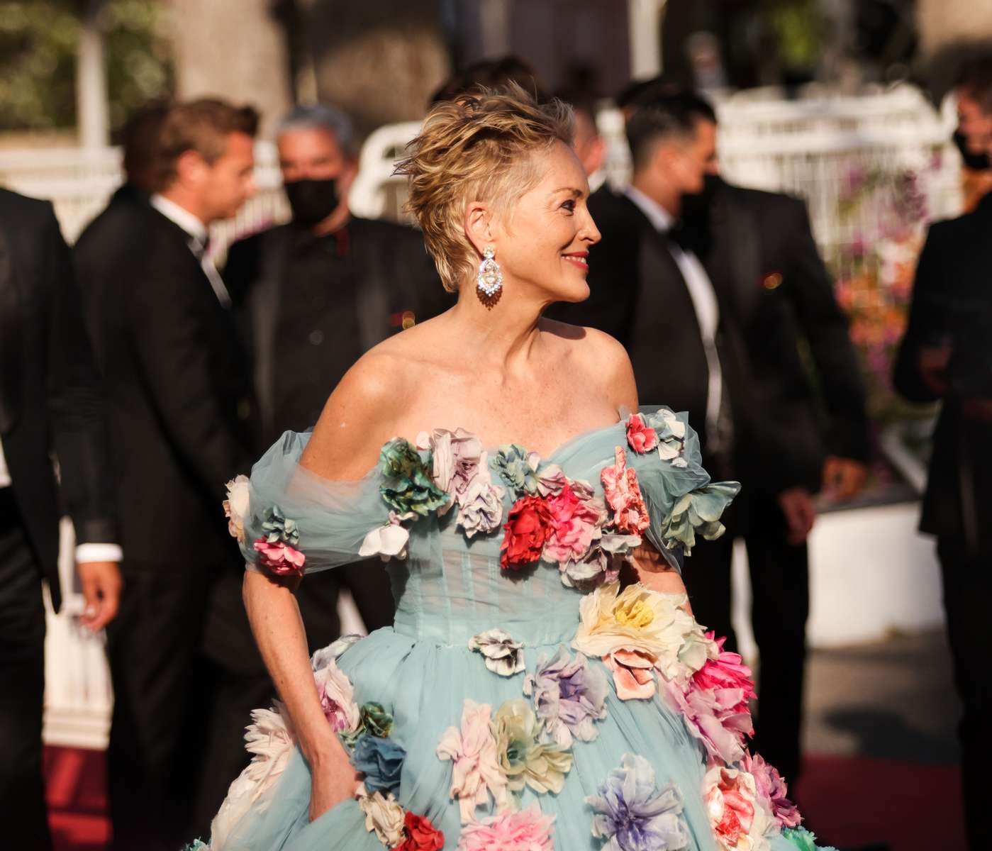 """Sharon Stone arrives for the screening of the film """"A Felesegem Tortenete"""" (The Story Of My Wife) in competition at the 74th annual Cannes Film Festival in Cannes, France on July 14, 2021."""
