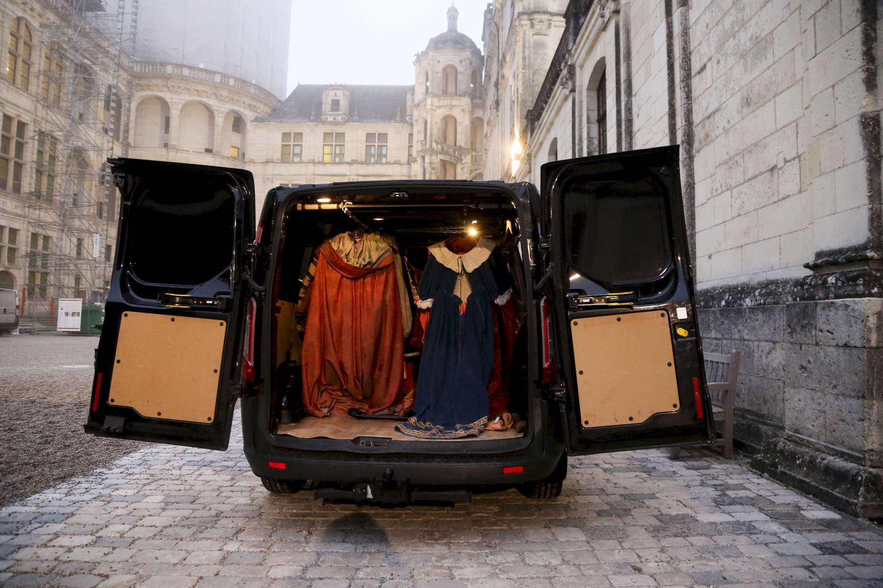 Costumes are seen in the truck before being sent to a cleaning company at the end of the show.