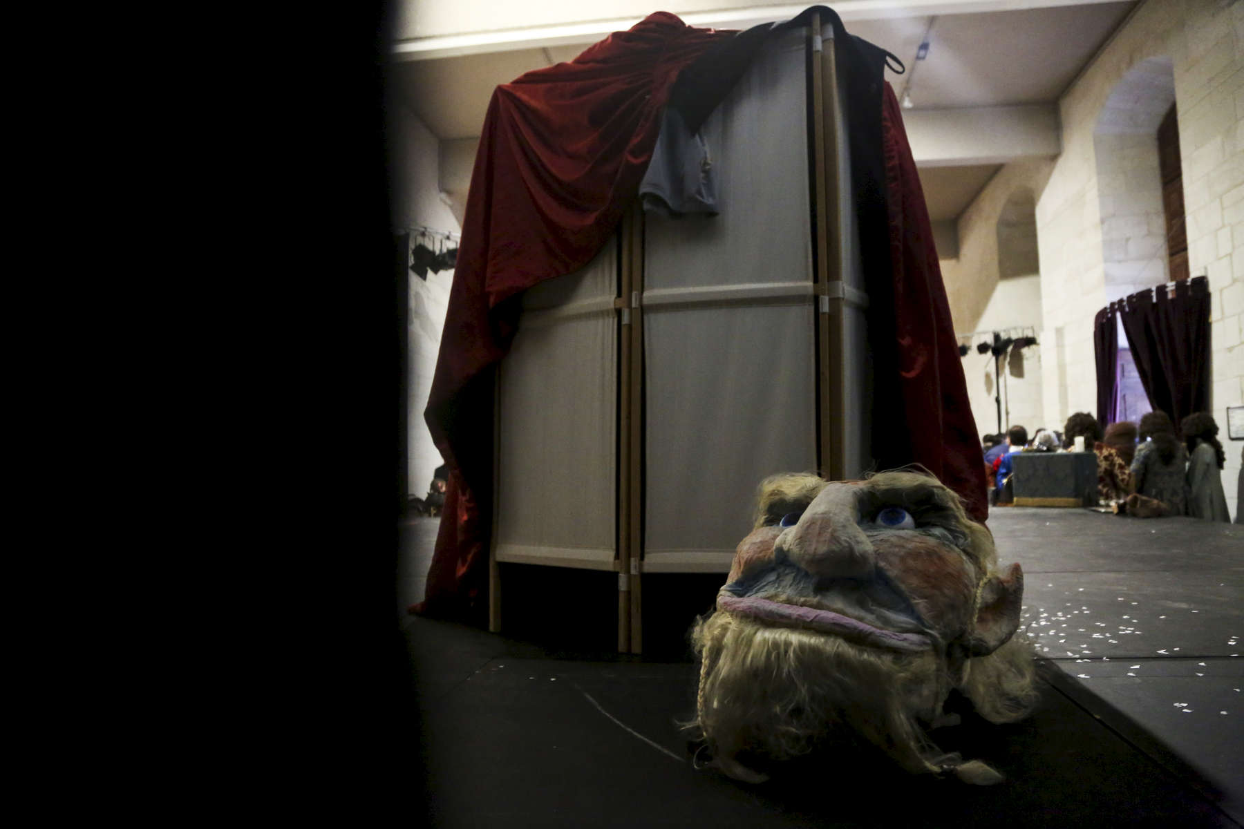 The head of the ogre backstage at the end of the performance.