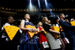 US Wisconsin delegates pray on the last day of the Democratic National Convention.