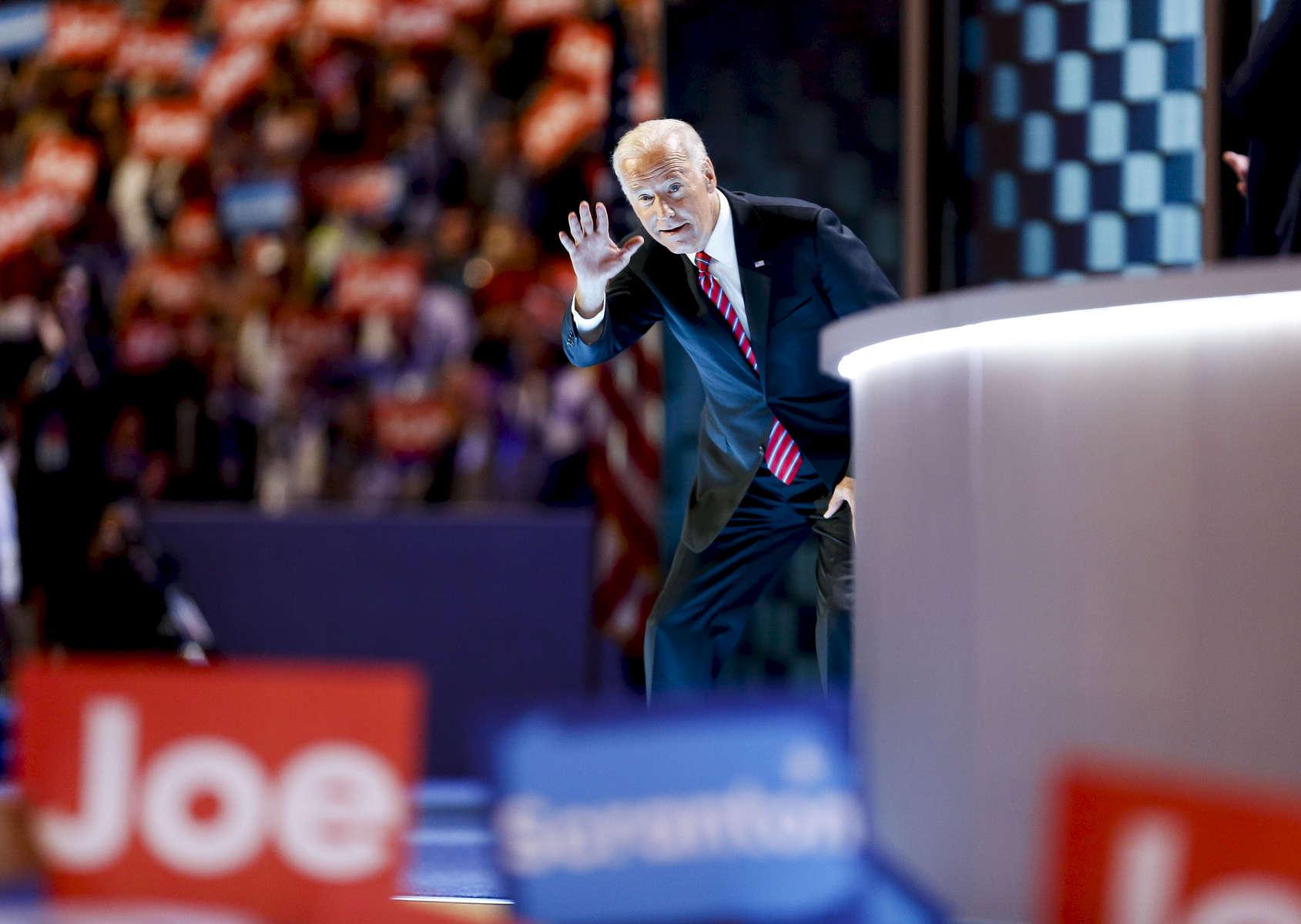 Vice President Joe Biden waves before speaking.