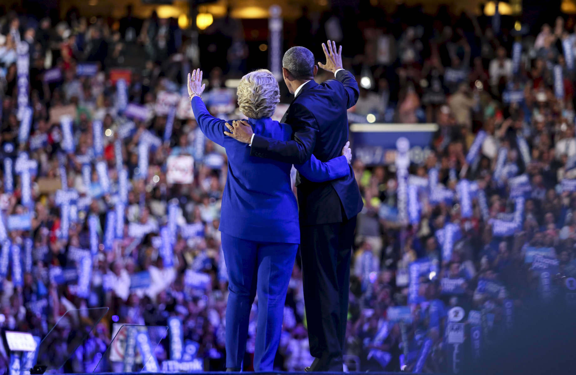 Hillary Clinton and President Obama on the third day of the DNC.