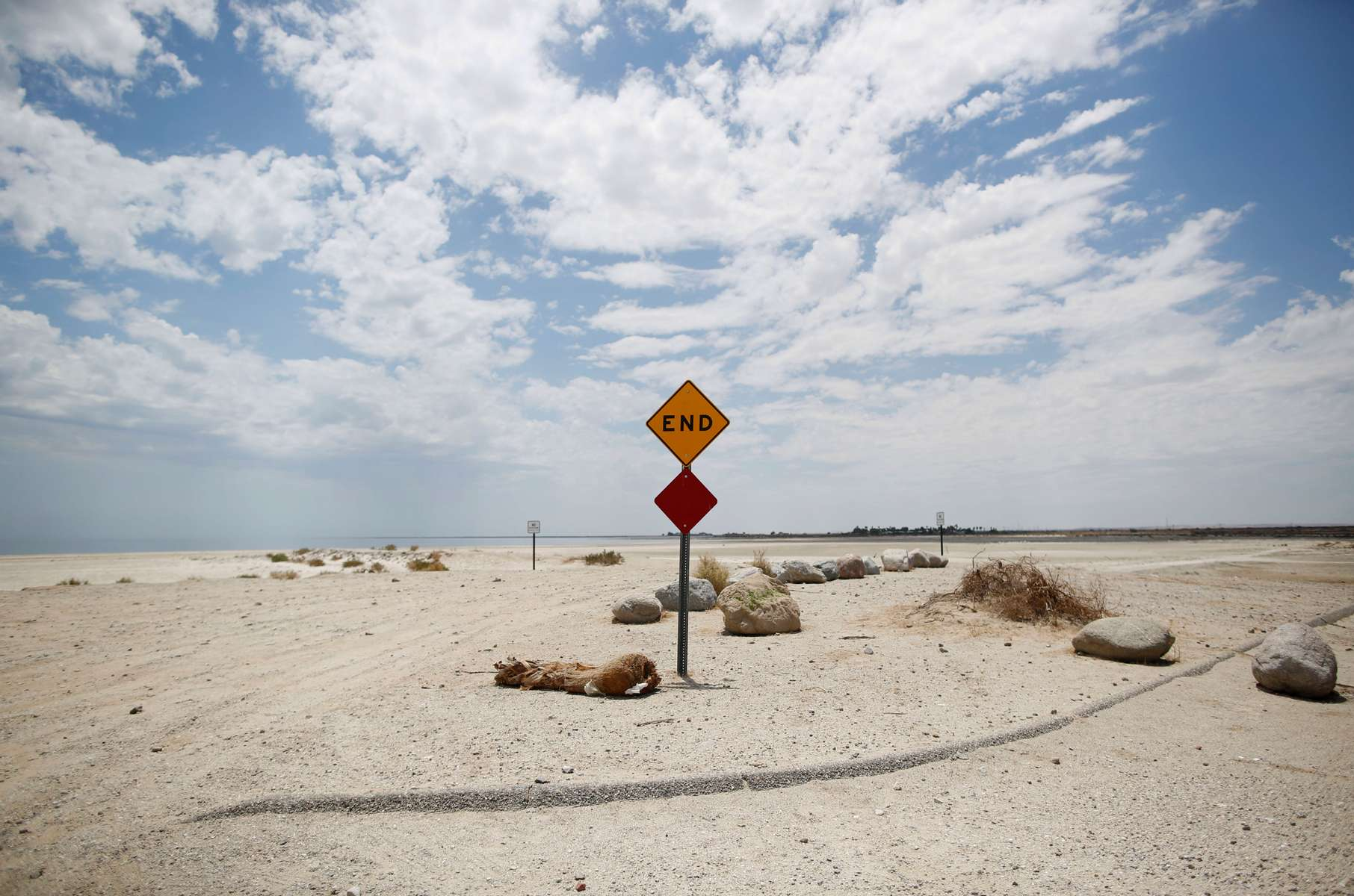 An end sign is seen in front of a beach of the Salton Sea, as California faces its worst drought since 1977, in Salton City, California, U.S., July 4, 2021.