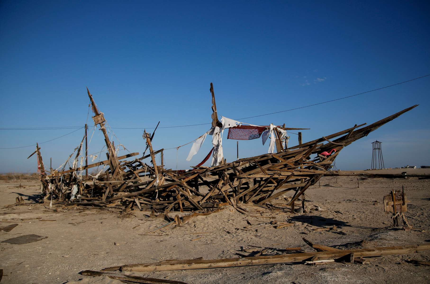 An art installation is seen on the Salton Sea's beach, as California faces its worst drought since 1977, in Bombay Beach, California, U.S., July 4, 2021.