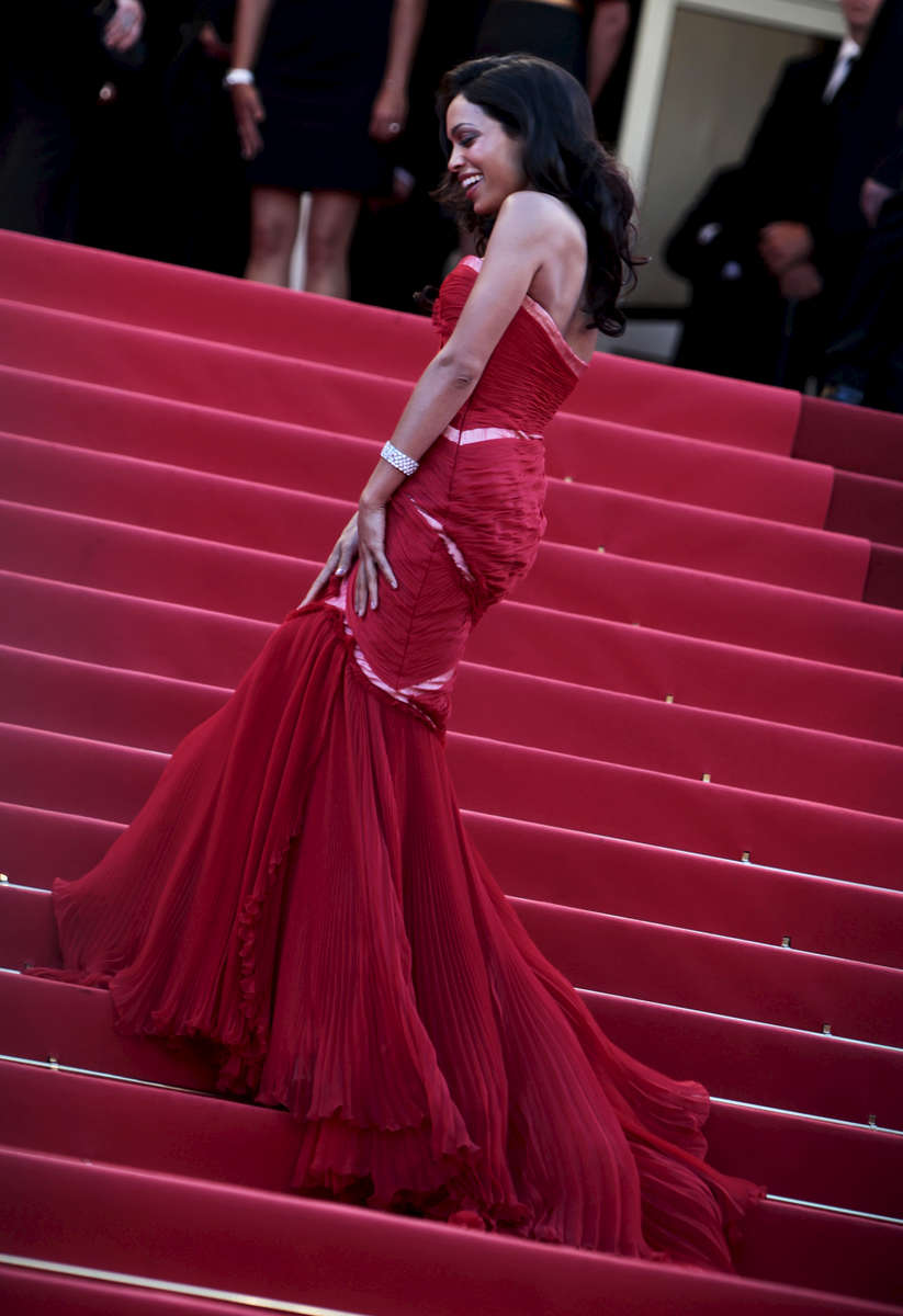 Actress Rosario Dawson  arrives at the screening of 'This Must Be The Place' at the Palais des Festivals during the Cannes Film Festival  in Cannes, France.