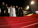 (L-R) Jean Paul Gaultier, actor Jan Cornet, actress Elena Anaya, actress Marisa Paredes, director Pedro Almodovar, actress Blanca Suarez and actor Antonio Banderas, present 'The Skin I Live In' during the Cannes Film Festival at the Palais des Festivals  in Cannes, France.
