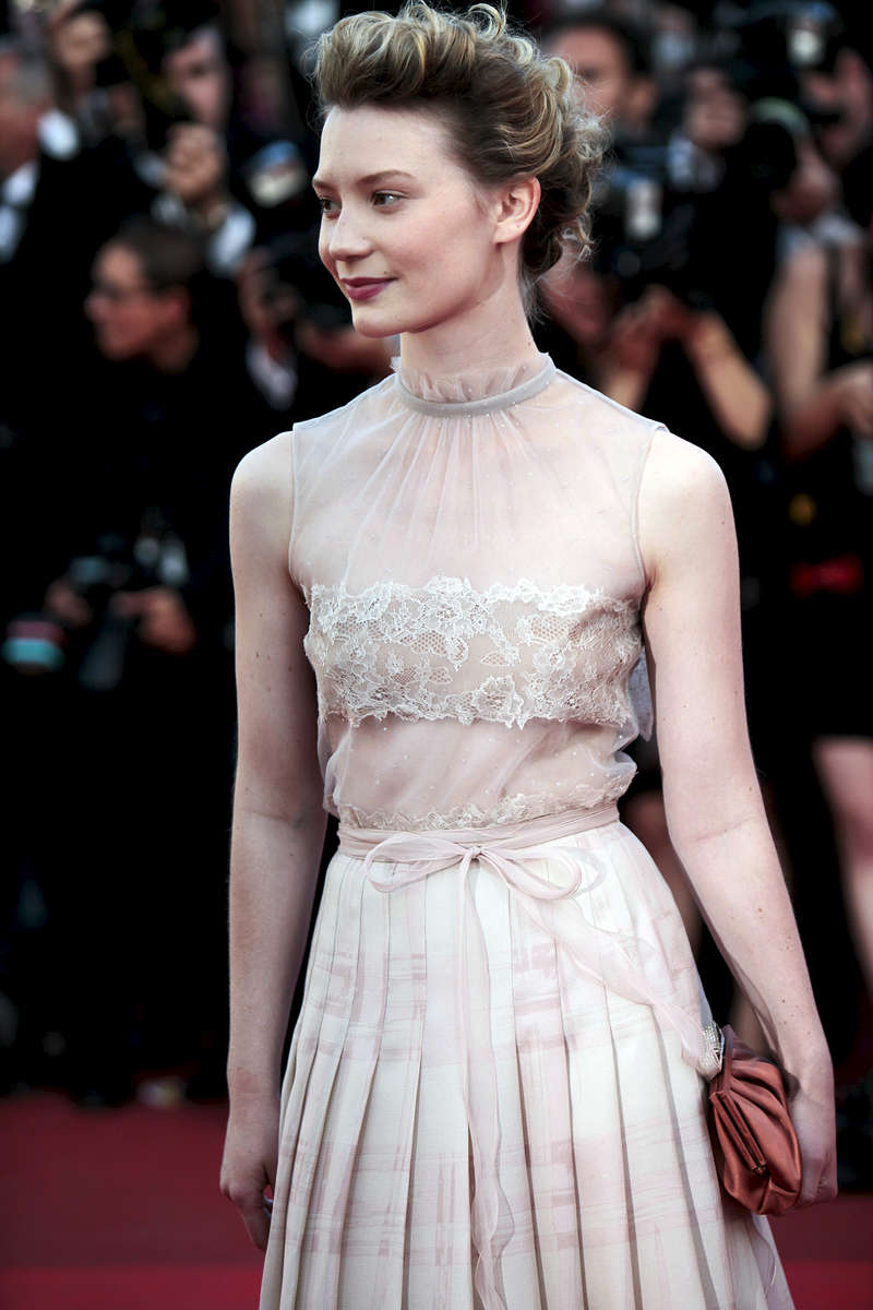 Actress Mia Wasikowska arrives at the  'The Tree Of Life' screening during the Cannes Film Festival at the Palais des Festivals in Cannes, France.