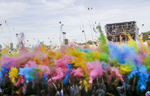 Color party at Solidays, a music festival, in Paris, France.
