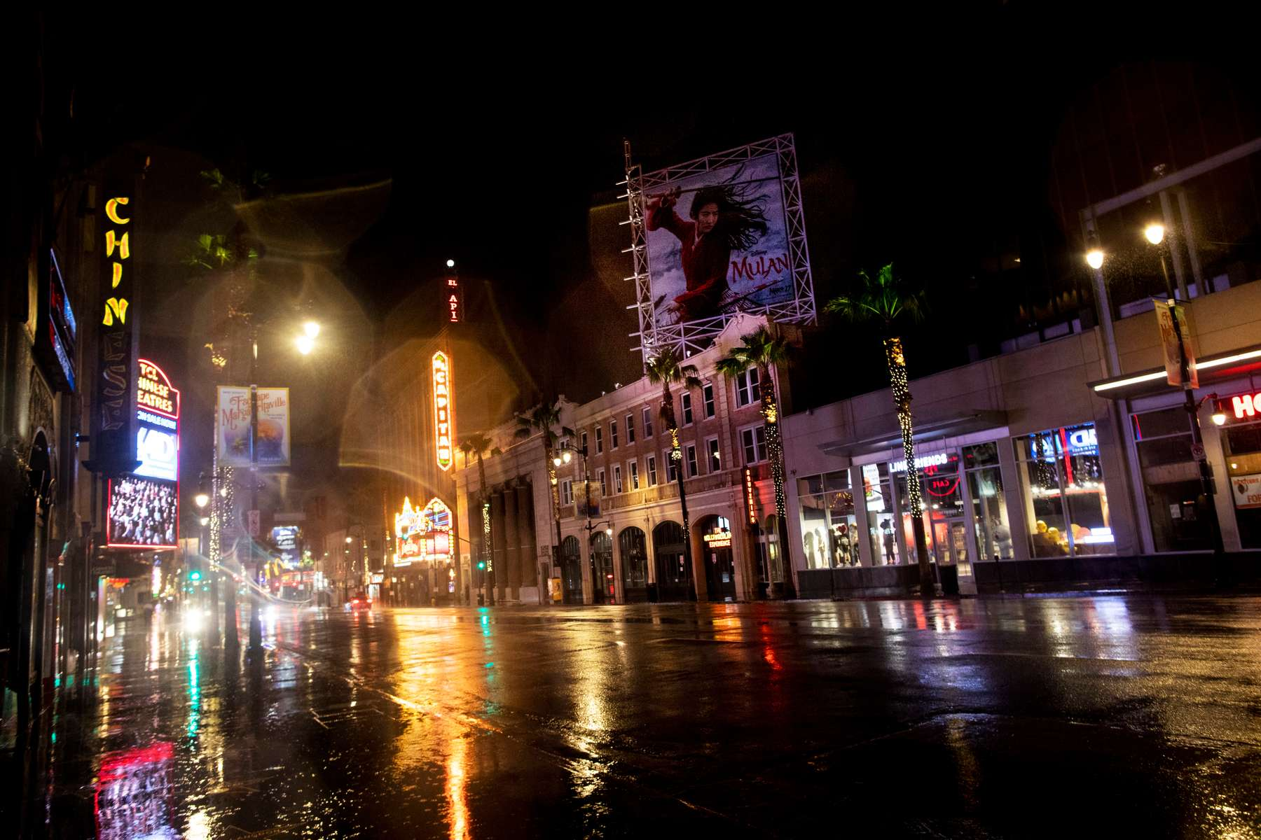 An almost empty Hollywood boulevard, during the Stay At Home Order to slow the spread of COVID-19, on March 22, 2020, in Los Angeles, California.