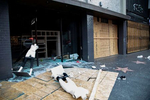 A looted store on Hollywood Boulevard, after a demonstration over the death of George Floyd, on June 1, 2020, in Los Angeles, California.
