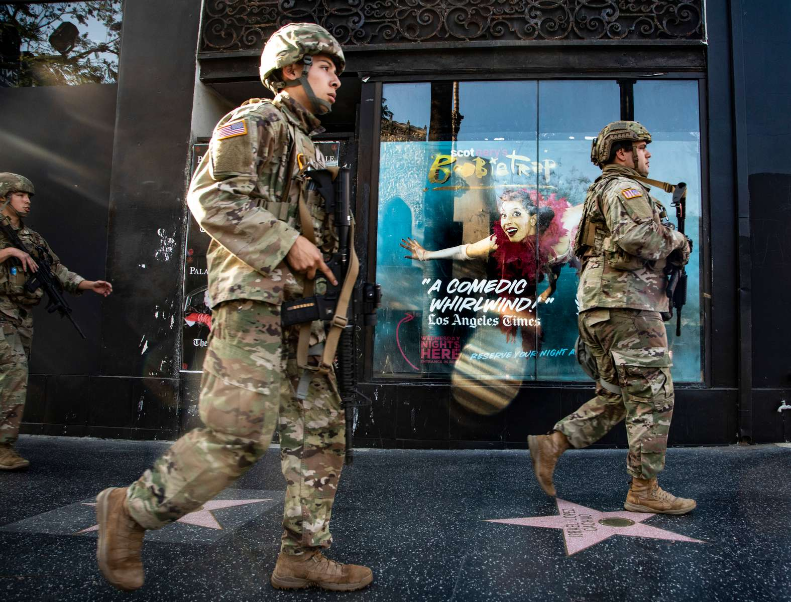 National Guard on Hollywood Boulevard, on June 4, 2020, in Los Angeles, California.