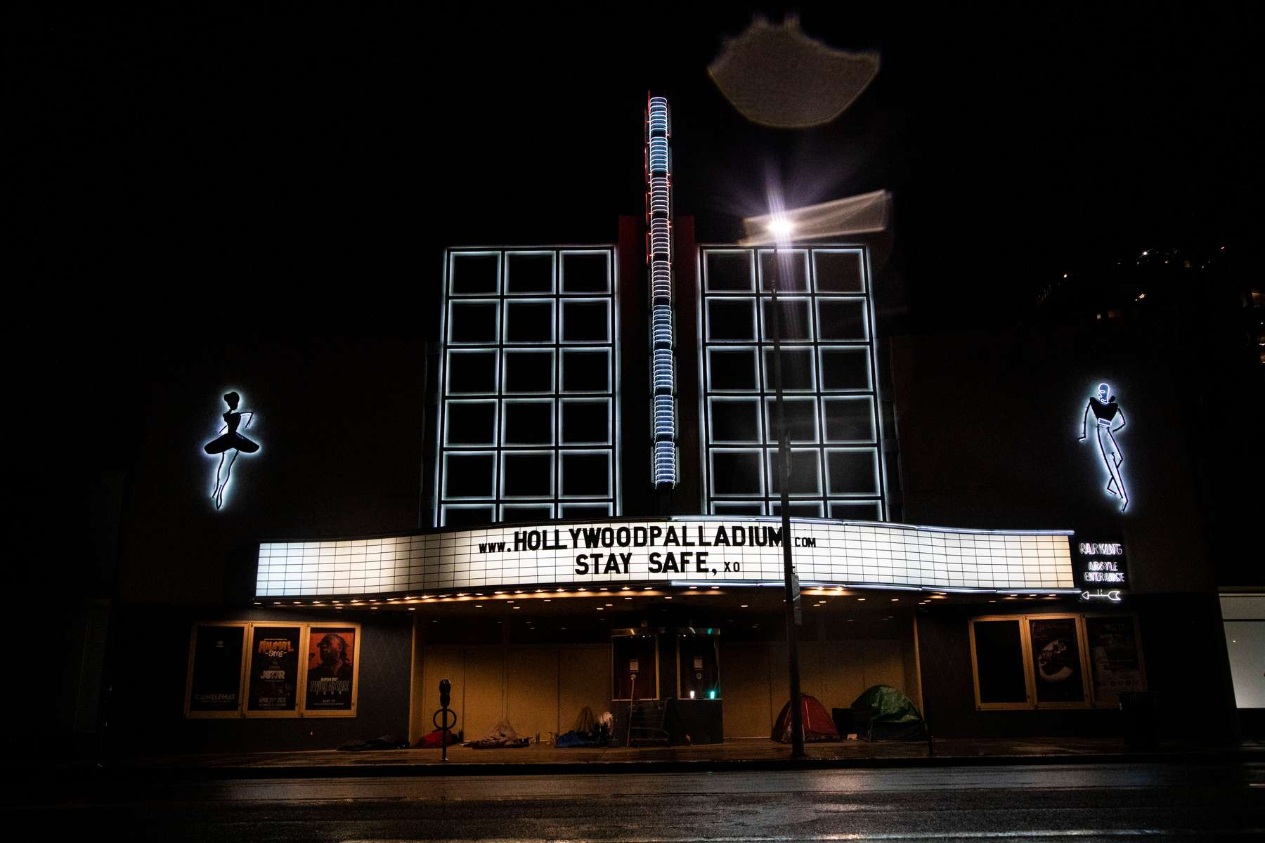 The Hollywood Palladium, a concert venue, remains closed during the Stay At Home Order to slow the spread of COVID-19, on April 9, 2020, in Los Angeles, California.