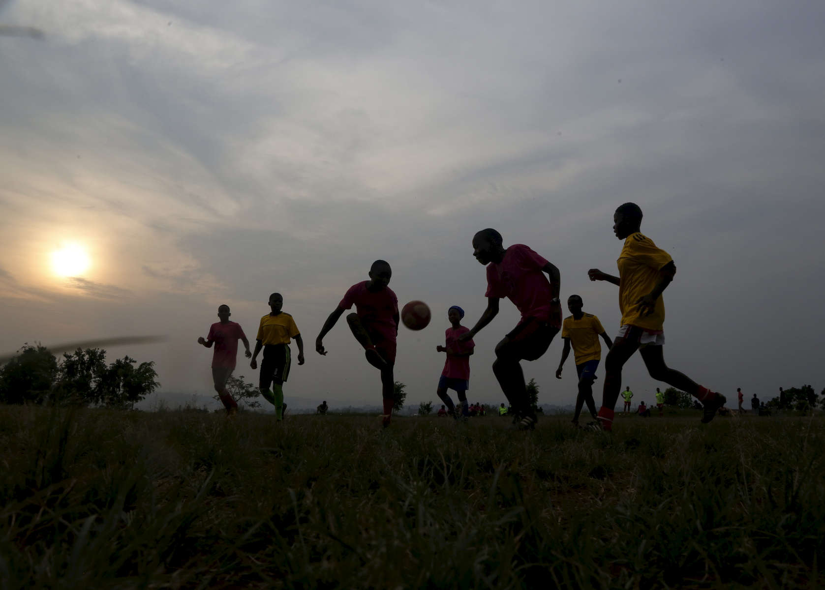 Congolese refugee girls play soccer in Kampala, Uganda on December 10, 2018.