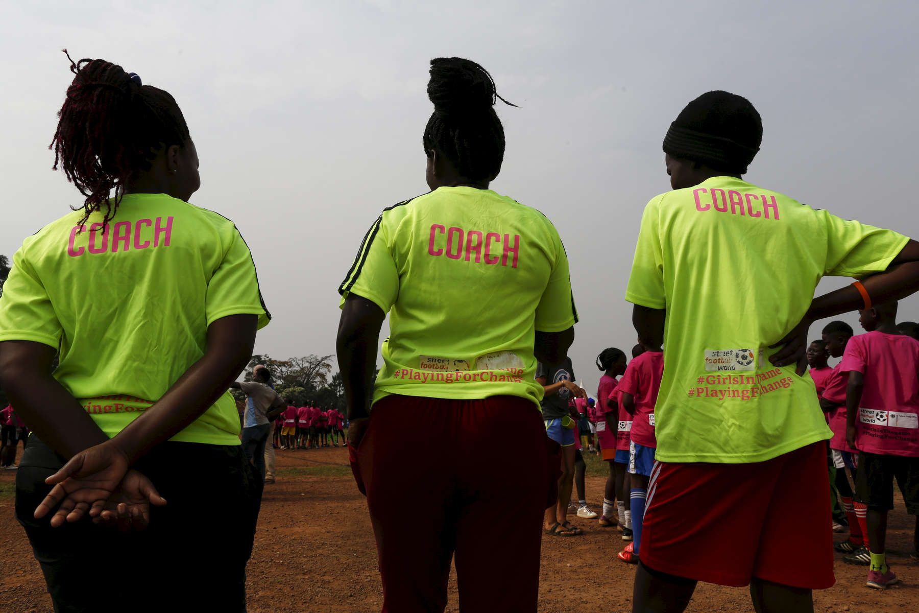 Coaches supervise their players during the {quote}Women take the Lead{quote} festival, a soccer event for Congolese refugee youth in Kampala, Uganda on December 13, 2018.