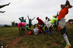 Players celebrate a win during the {quote}Women take the Lead{quote} festival, a soccer event for Congolese refugee youth in Kampala, Uganda on December 13, 2018.