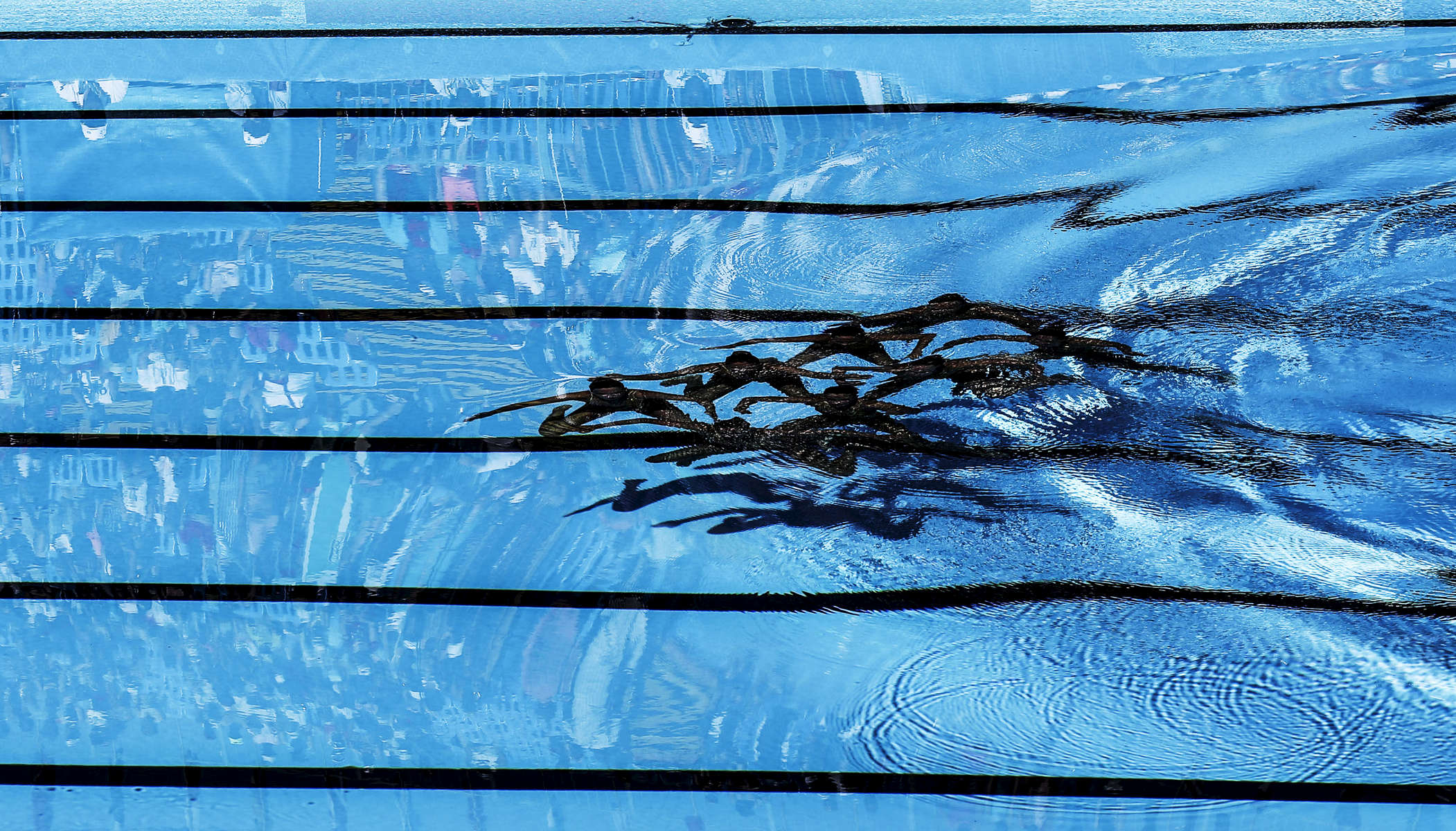 The Switzerland team swims for the Synchronised Swimming Team Technical finals, during the FINA World championships in Budapest, Hungary on July 18, 2017.