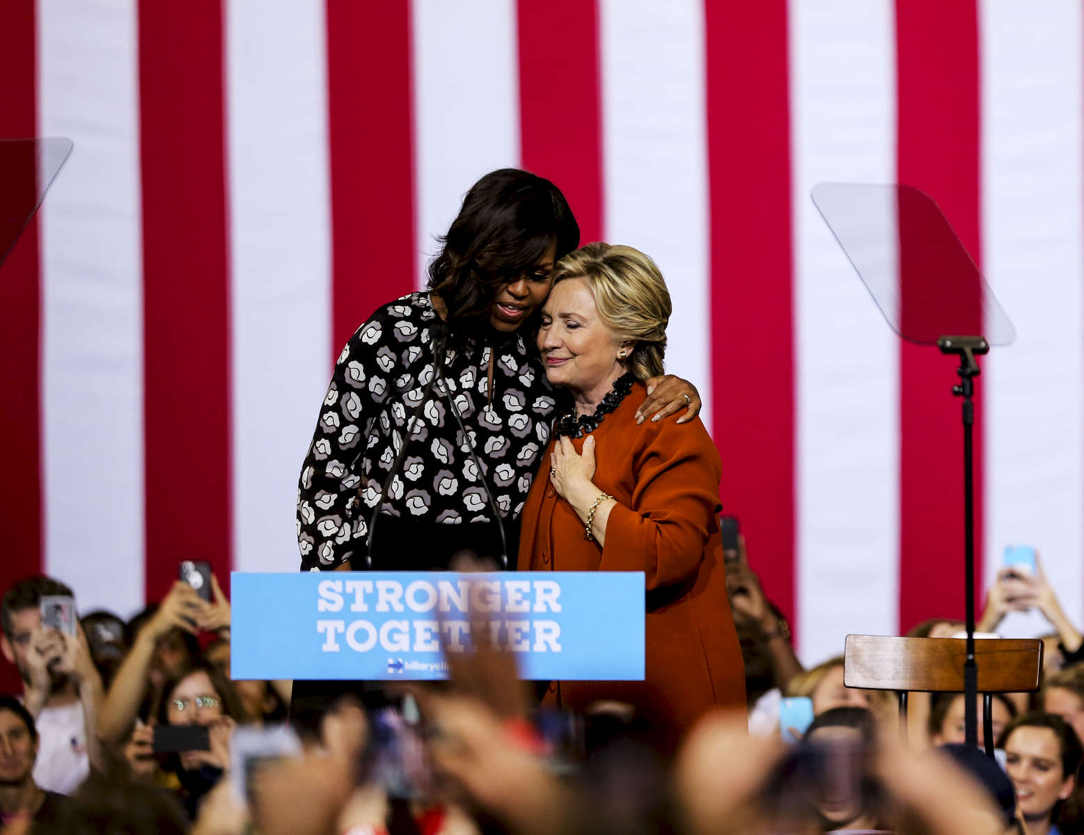 Presidential candidate Hillary Clinton participates in a rally with First Lady Michelle Obama in North Carolina.