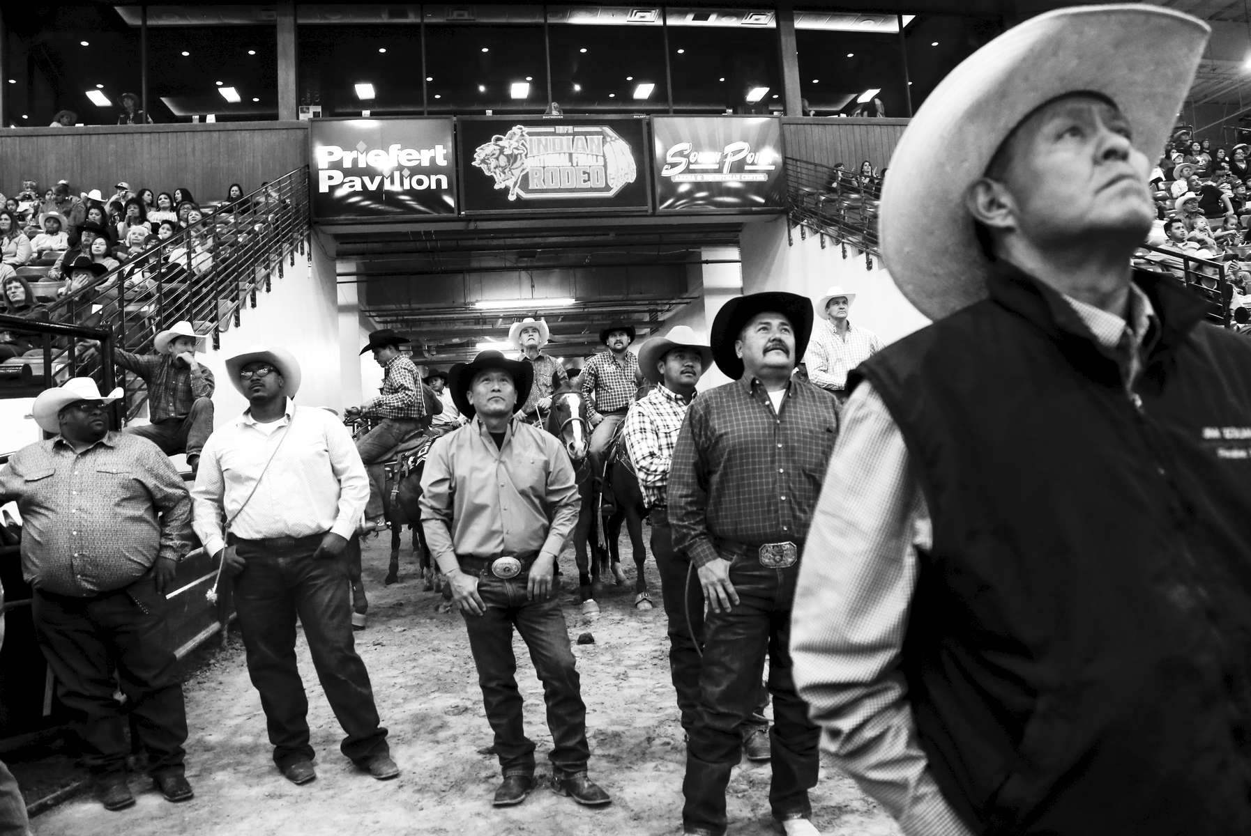 Contestants and the public watch the competition during the 2019 Indian National Finals Rodeo in Las Vegas, Nevada on October 25, 2019.