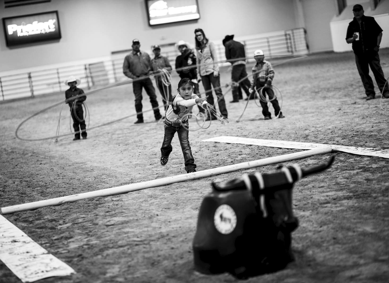 On the morning of the last day of the 2019 Indian National Finals Rodeo, children as young as two can participate in the Dummy Roping competition,  in Las Vegas, Nevada on October 25, 2019.