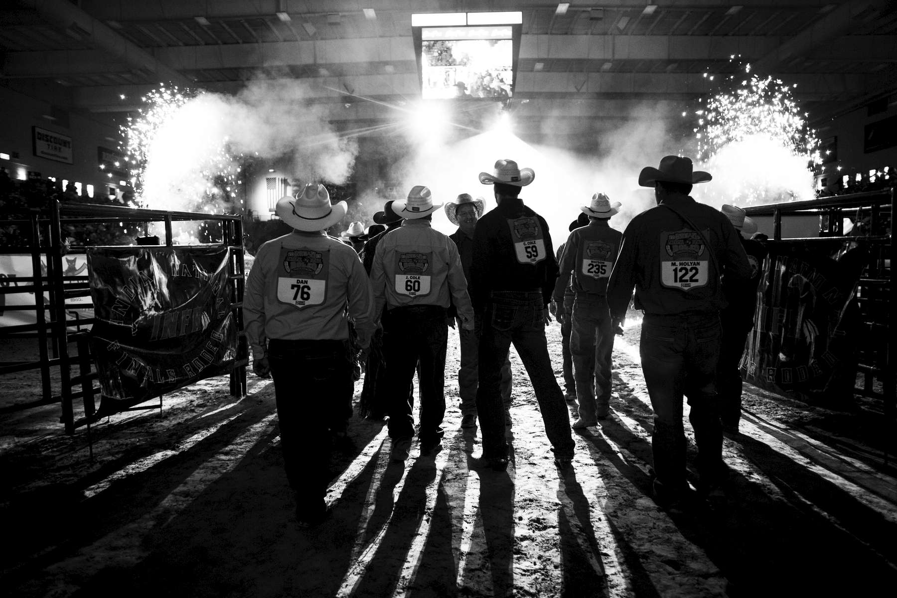 Contestants participate in the Grand Entry before the evening's competitions of the 2019 Indian National Finals Rodeo in Las Vegas, Nevada on October 25, 2019.