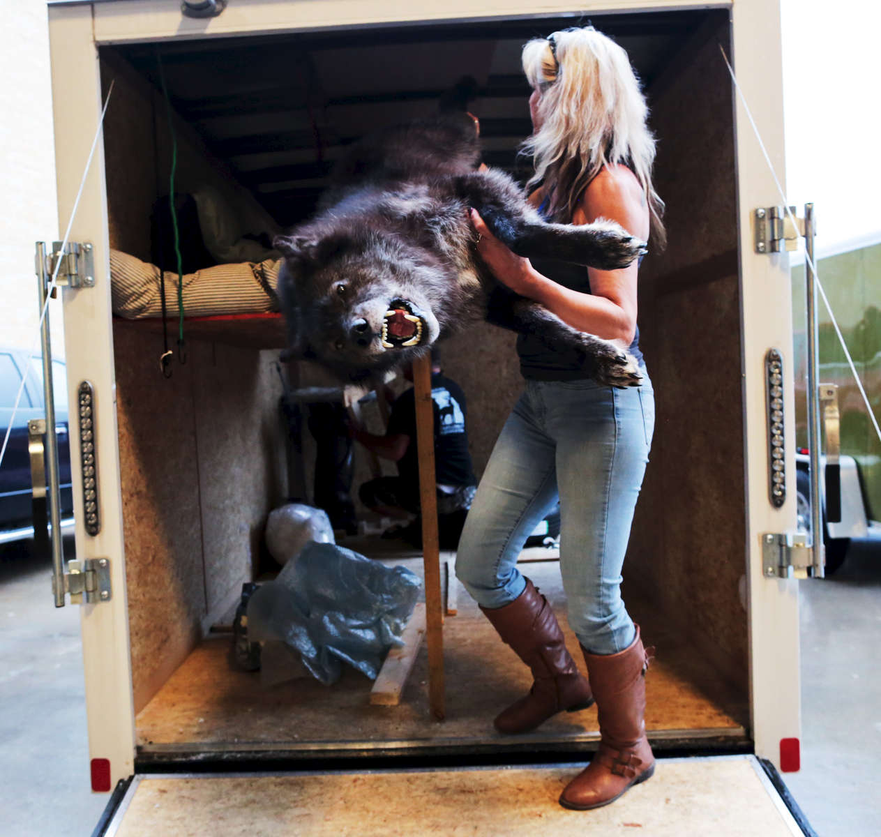 Dawn Stacks, from Eldon Missouri, takes her wolf out of the truck before submitting it for judging, at the beginning of the World Taxidermy & Fish Carving Championships, in Springfield Missouri on May 1, 2019.