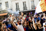 Supporters celebrate in the streets after France just won the 2018 World Cup, on July 15, 2018, in Paris France.On the historical Soccer World Cup final between France and Croatia, fans were invited to watch the game on giant screens set up in the Champs de Mars, in front of the Eiffel Tower in Paris. But this Fan Zone was full long before the start of the game, leaving thousand of supporters scrambling to find a place to watch the game close by. The nearby and usually quiet coffees and restaurants were quickly over flooded. But for the next two and a half hours, it did not matter to watch the game from the middle of the streets. Very few cars were circulating, because almost everyone in France was watching, or trying to watch the game.