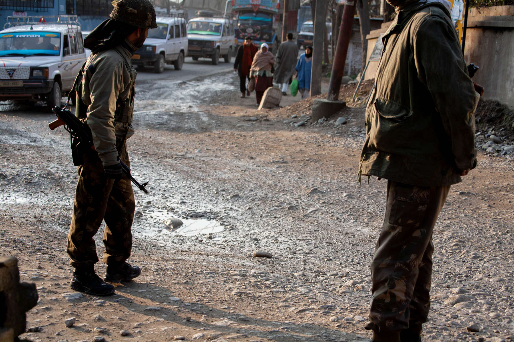 A constant presence. India's Military occupies Srinagar's Theaters, Schools, Graveyards, and Neighborhoods. Residents dodge potholes, encircling tanks, on their way home from work.