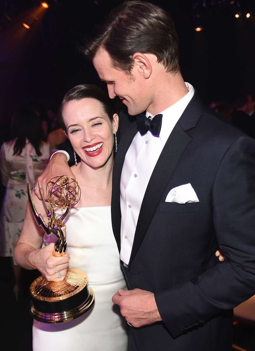 Claire Foy, winner of the award for outstanding lead actress in a drama series for {quote}The Crown{quote} left, and Matt Smith attend the Governors Ball for the 70th Primetime Emmy Awards on Monday, Sept. 17, 2018, at the Microsoft Theater in Los Angeles. (Photo by Jordan Strauss/Invision for the Television Academy/AP Images)