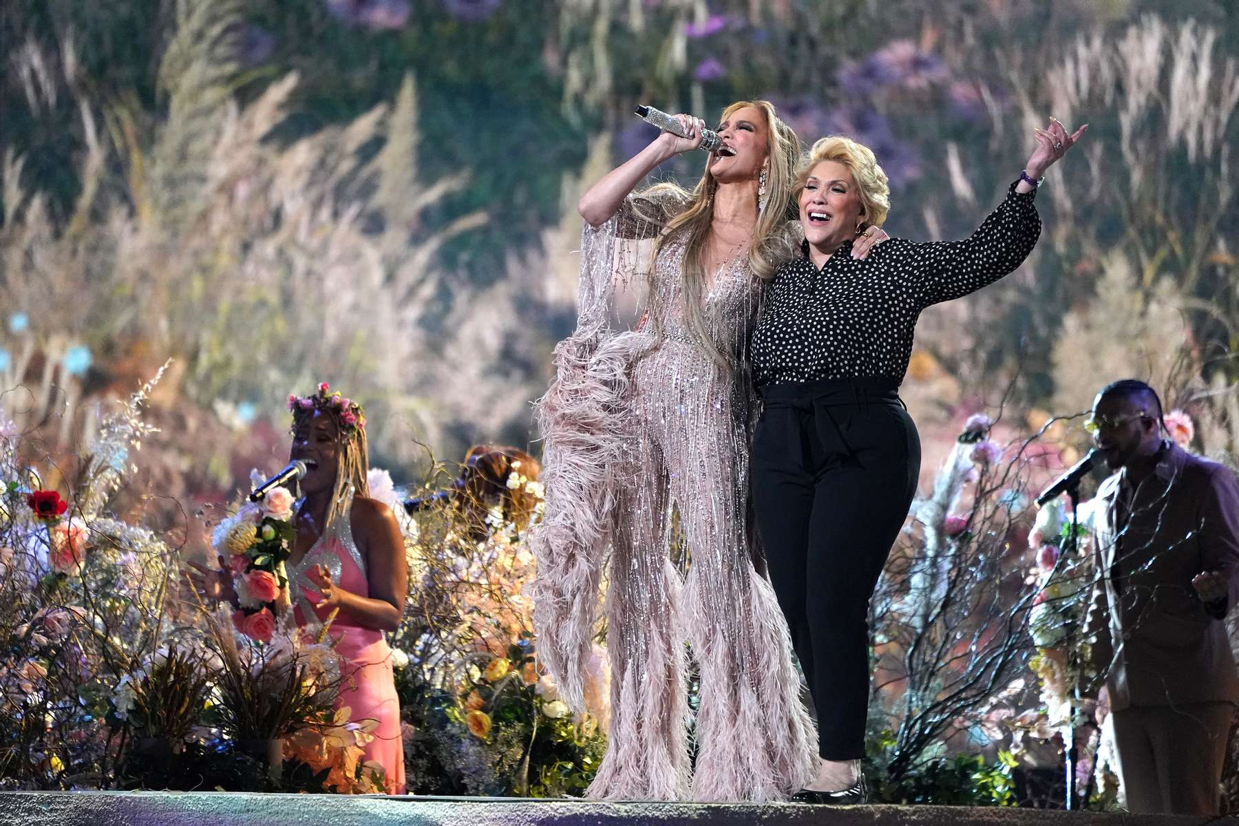 Jennifer Lopez performs with her mother Guadalupe Rodríguez at {quote}Vax Live: The Concert to Reunite the World{quote} on Sunday, May 2, 2021, at SoFi Stadium in Inglewood, Calif. (Photo by Jordan Strauss/Invision/AP)
