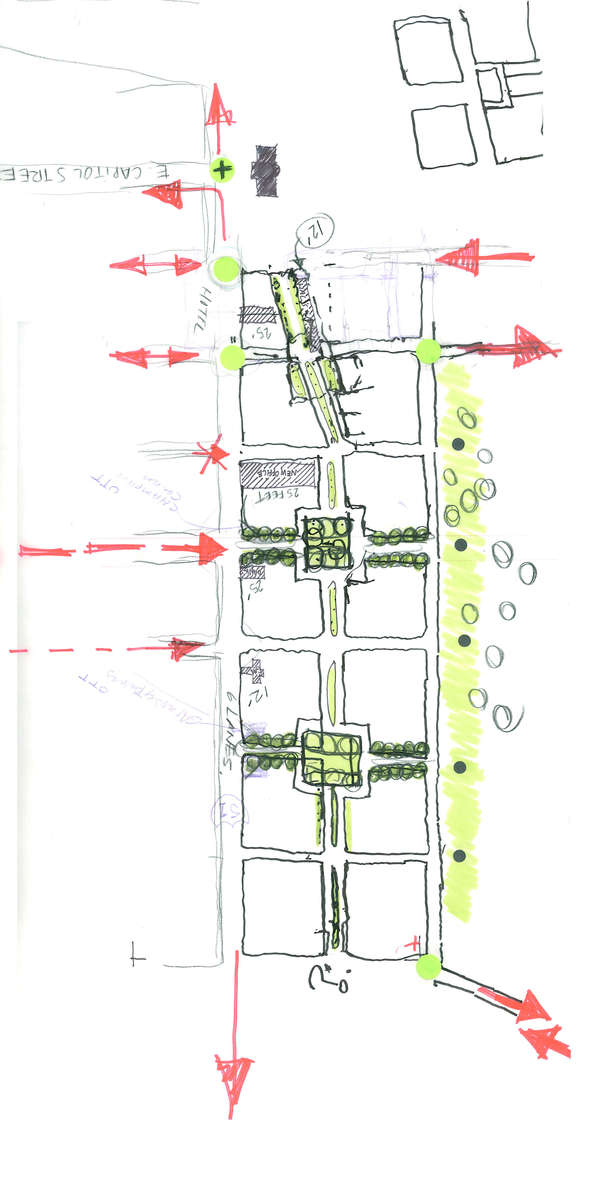 2009. Conceptual Master Plan Sketch for the 14-block, 5 Million Sq. Ft Old Capitol Green Development for Full Spectrum Developers illustrating the {quote}GreenBlock{quote} and green corridor concept that connects the public and private spaces. Jackson, Mississippi.