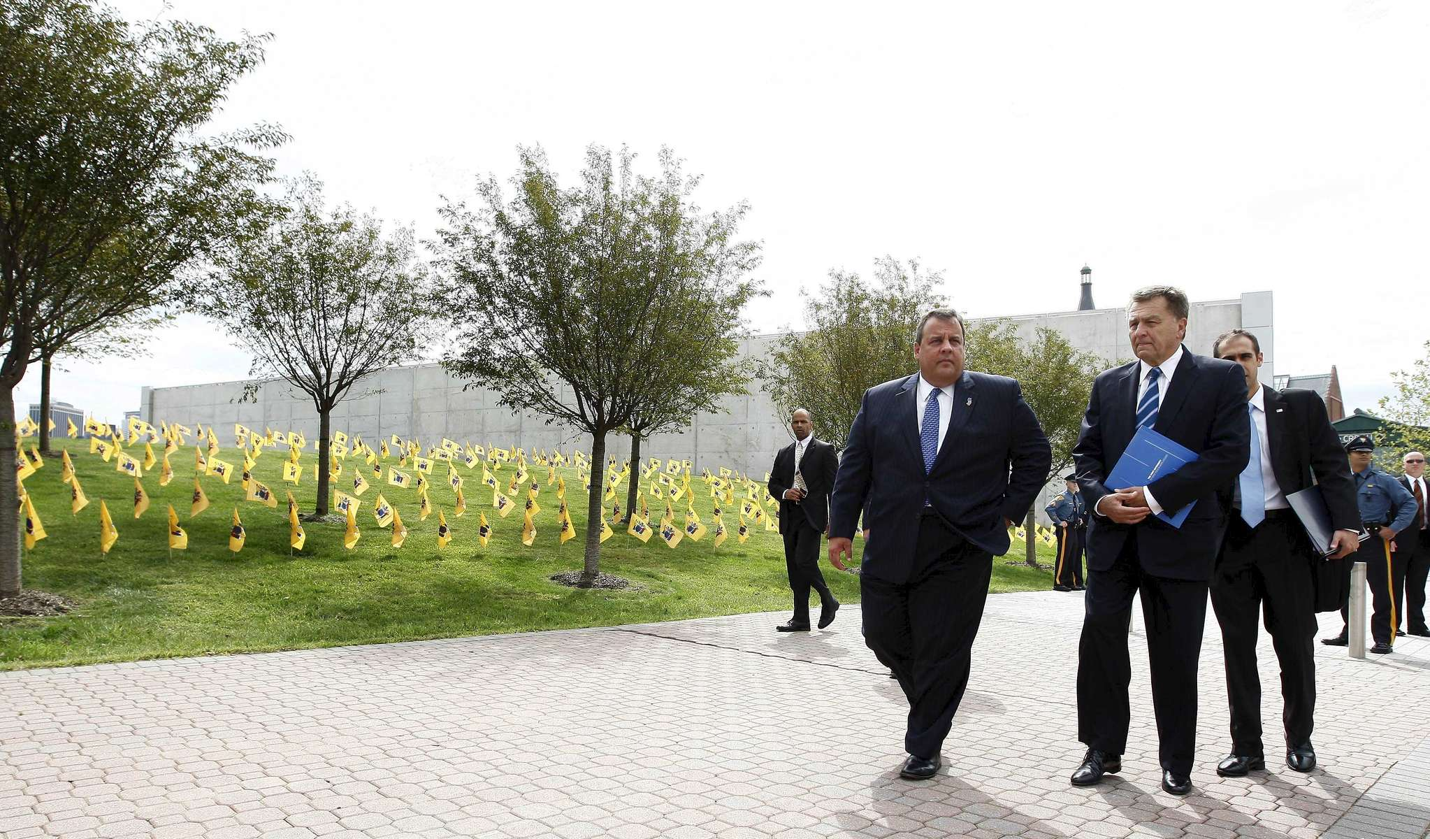Governor Chris Christie and Port Authority of New York and New Jersey Chairman David Samson arrive at the Empty Sky Memorial Dedication at Liberty State Park in Jersey City, N.J. on Saturday, Sept. 10, 2011. (© Governor's Office / Photographer: Tim Larsen)