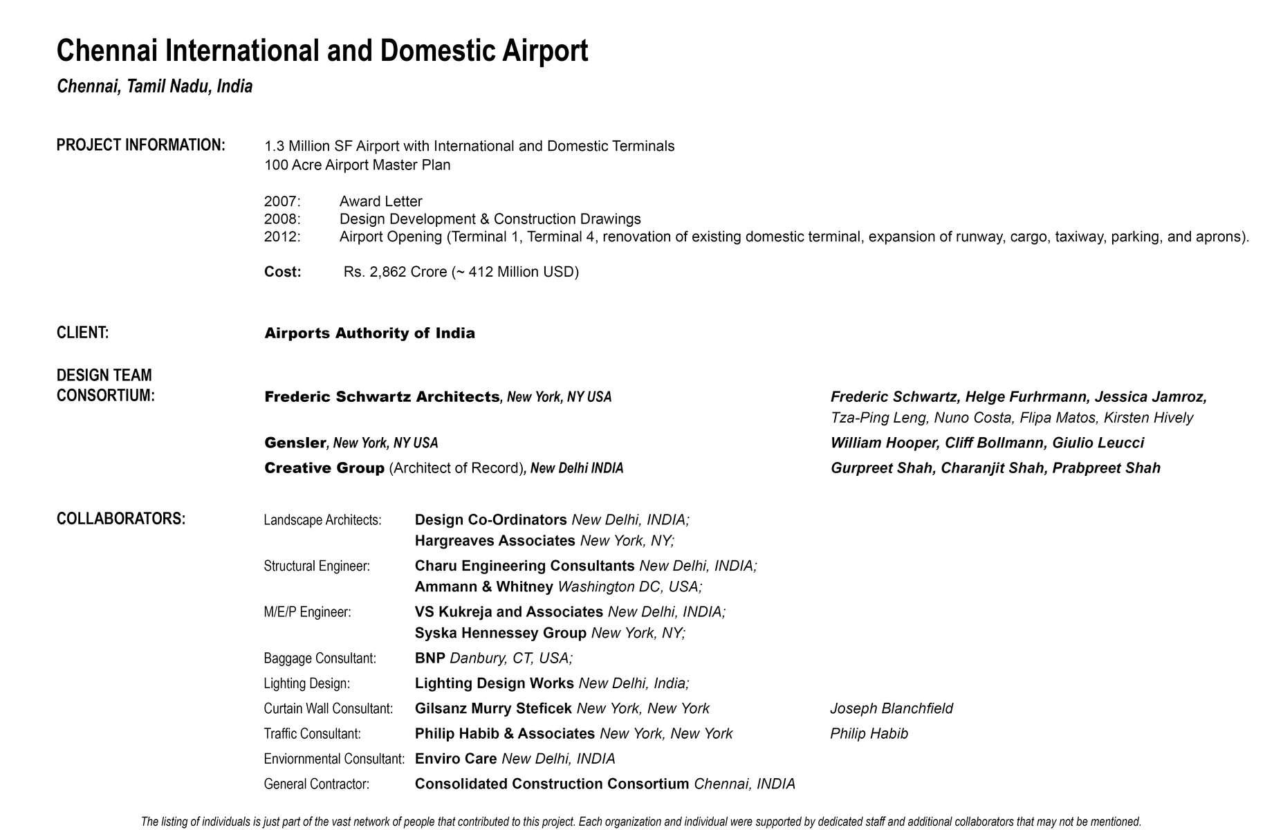 Project-Credits-Chennai-Airport