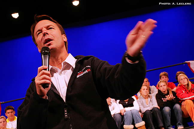 Aaron Leclerc/Staff photographerSenator and democratic presidential candidate, John Edwards, speaks to a packed auditorium at Oyster River High, Tuesday morning in Durham.