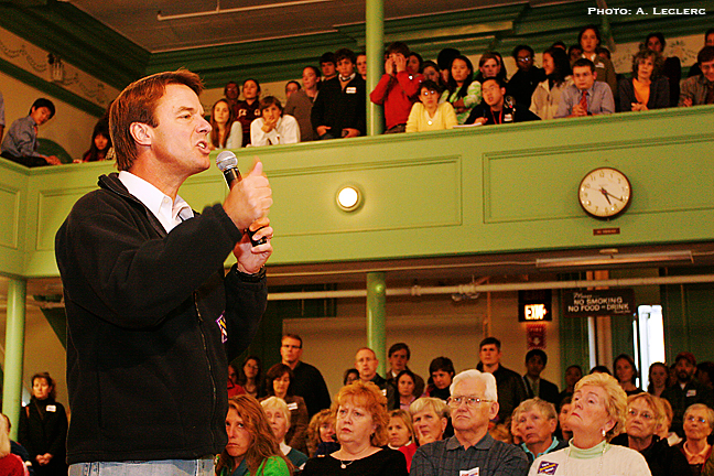Aaron Leclerc/Staff photographerDemocratic presidential hopeful, John Edwards, continued a sweep through the Granite State, Monday, while making a stop at the Exeter Town Hall.