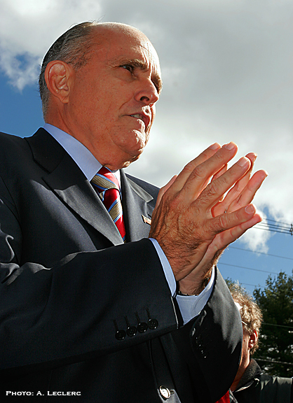 Aaron Leclerc/Staff photographerRepublican presidential candidate, Rudi Giuliani, speaks to the media in Portsmouth, Sunday morning.