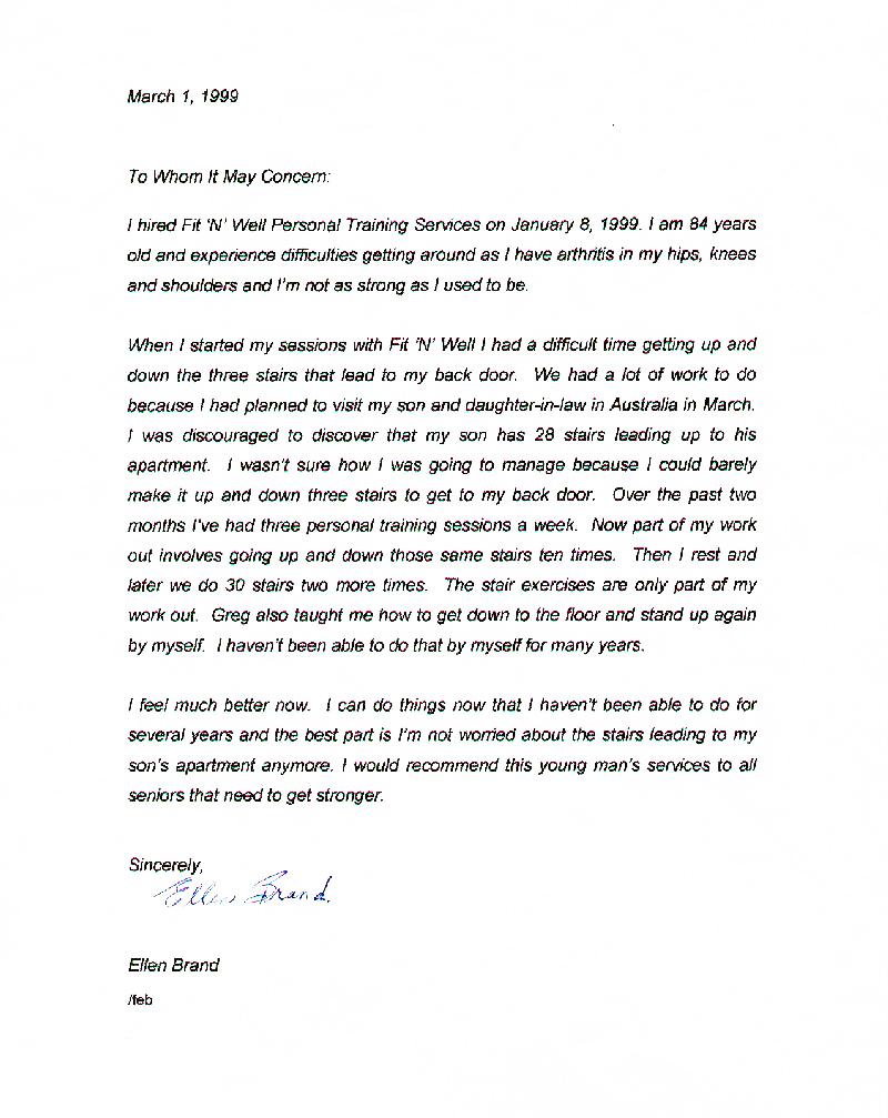 senior client testimonial letter