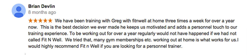 picture of a google review for Fit 'N' Well Personal Training Inc.