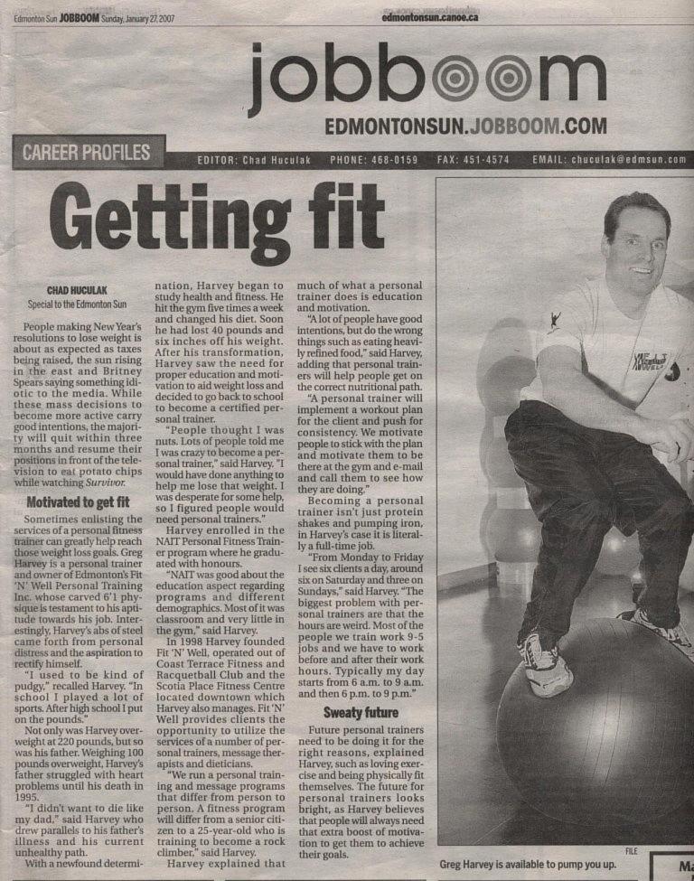 Edmonton Sun, Personal trainer, Greg Harvey, weight loss, fitness trainer, personal trainers, fitness trainers, lose weight, edmonton
