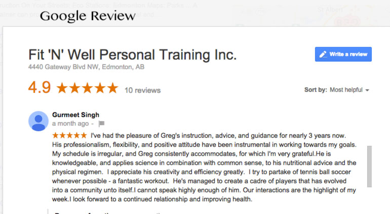 Fit \'N\' Well google review for Greg Harvey of Fit \'N\' Well Personal Training Inc.