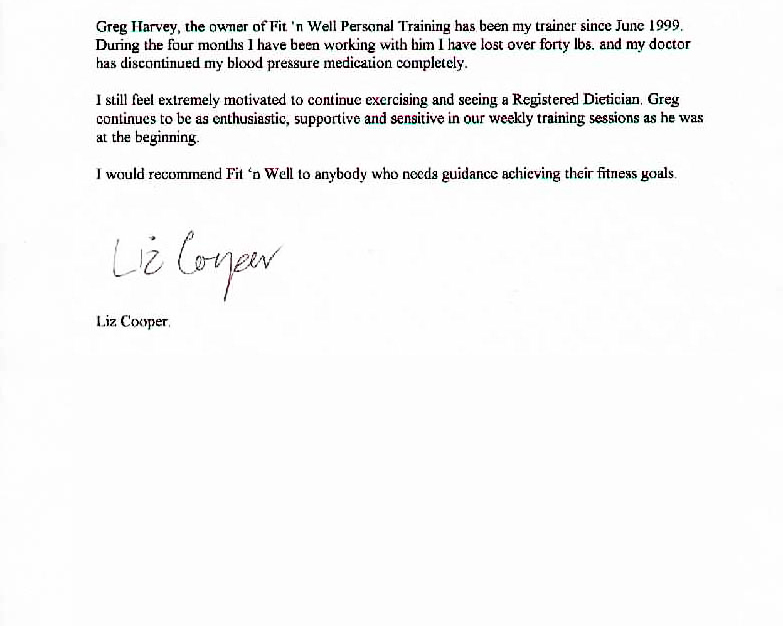 weight loss client testimonial letter
