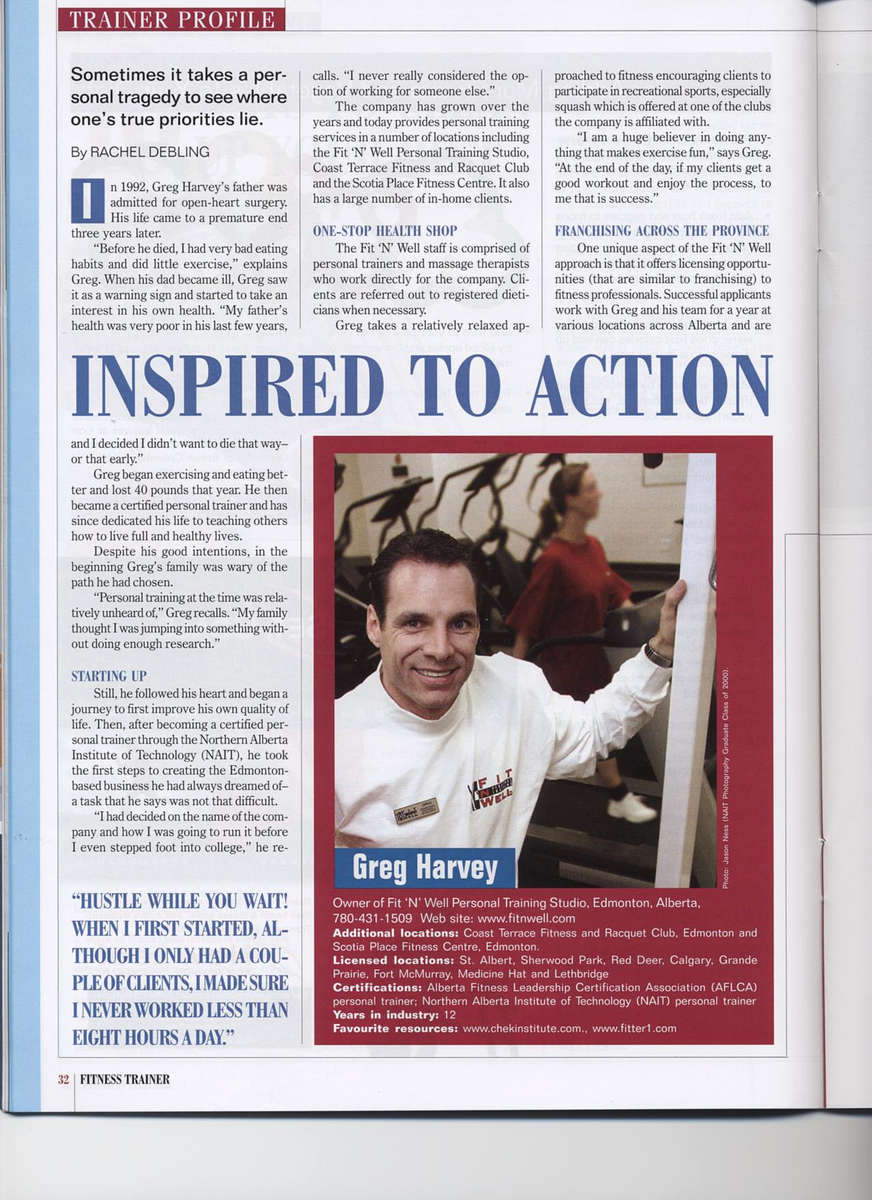 Nait, Nait article page three, personal fitness trainer, nait alumni, Greg Harvey, Fit 'N' Well, personal trainer, weight loss, exercise, fitness, fitness trainer, personal trainers, fitness trainers
