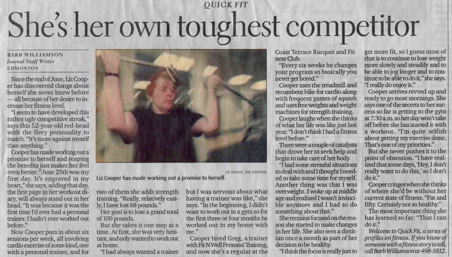 Edmonton Journal article about Fit 'N' Well Personal Trainer and Client.